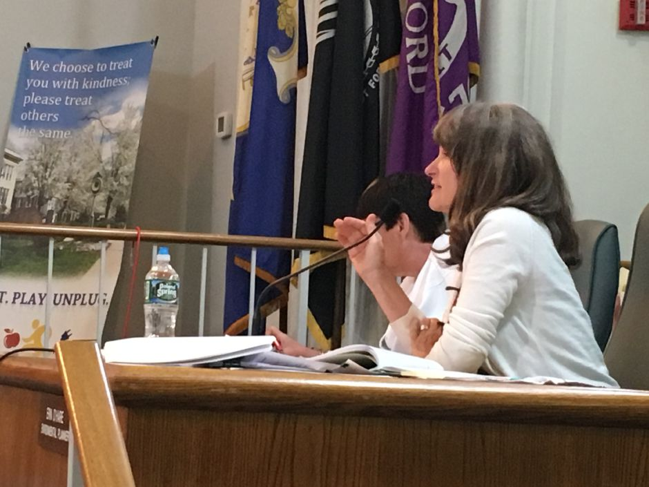 Erin O'Hare, Wallingford environmental planner, at the Inland Wetlands and Watercourses Commission public hearing on the proposed redevelopment of the former Bristol-Myers Squibb site on Wednesday, Sept. 5, 2018. | Lauren Takores, Record-Journal
