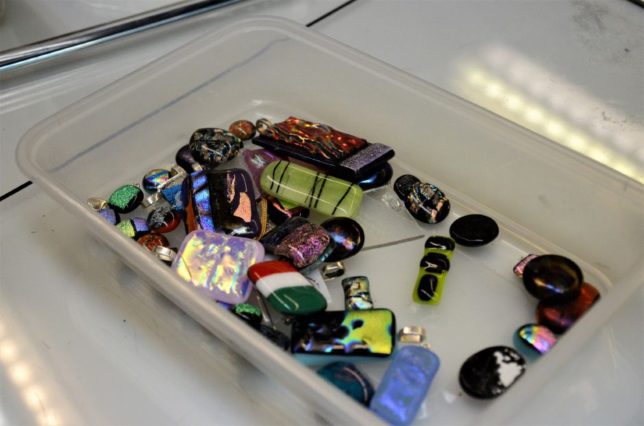 Instructor Christine Webster's fused glass jewelry.