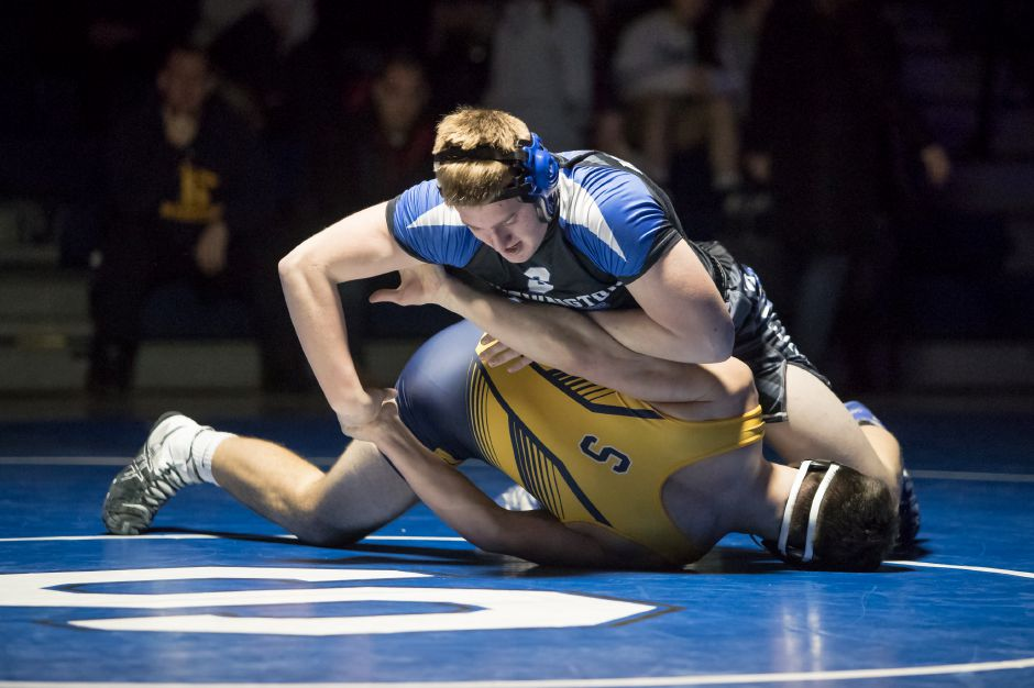 Southington 195-pounder Caleb Chesanow reached the semifinals at the State Open with three pins on Friday, including of Class L champ Alec Dube of Daniel Hand. Chesanow placed fourth in Class LL. | Justin Weekes / Special to the Record-Journal
