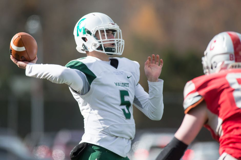 Elliot Good broke Maloney's single-season passing records in the 20-14 quarterfinal victory at Middletown. The senior quarterback is at 2,418 yards and 30 touchdowns going into Saturday's Class L state final against Hand. | Justin Weekes / Special to the Record-Journal