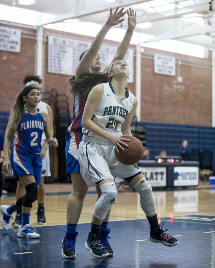 Julia Misner scored a team-high 12 points for Platt in Thursday's 45-35 loss at home to Plainville. | Justin Weekes / Special to the Record-Journal