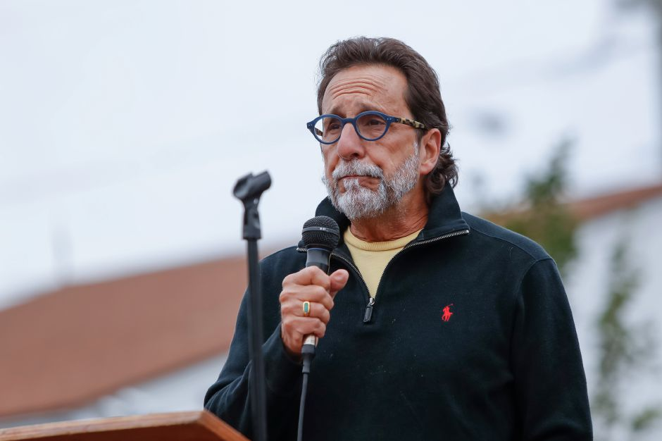 Michael Milone former Town Manager speaks about the process to complete the project Sunday during a Ribbon Cutting Ceremony for the Farmington Canal Heritage Trail on West Main in Cheshire September 9, 2018 | Justin Weekes / Special to the Record-Journal