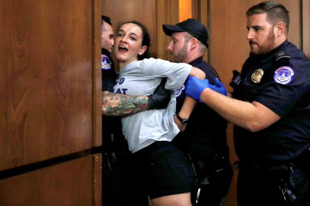 A protester is removed from the hearing room as President Donald Trump