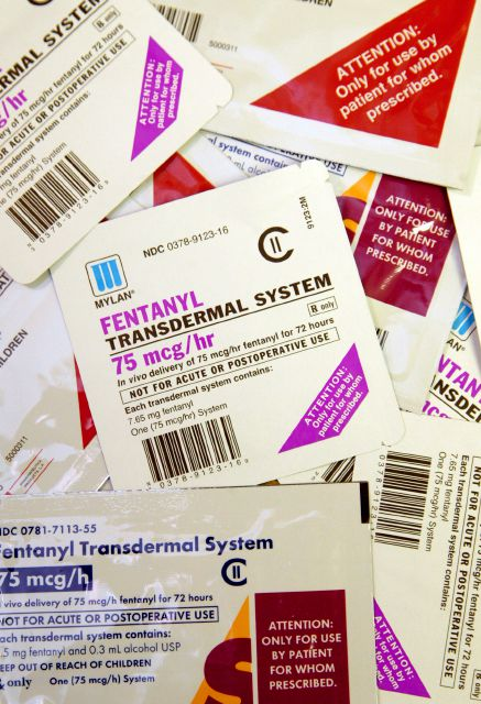 FILE - This April 26, 2006 file photo shows different brands and dosages of fentanyl patches in St. Louis. U.S. deaths linked to opioids have quadrupled since 2000 to roughly 42,000 in 2016. Although initially driven by prescription drugs, most opioid deaths now involve illicit drugs, including heroin and fentanyl. (AP Photo/Tom Gannam, File)