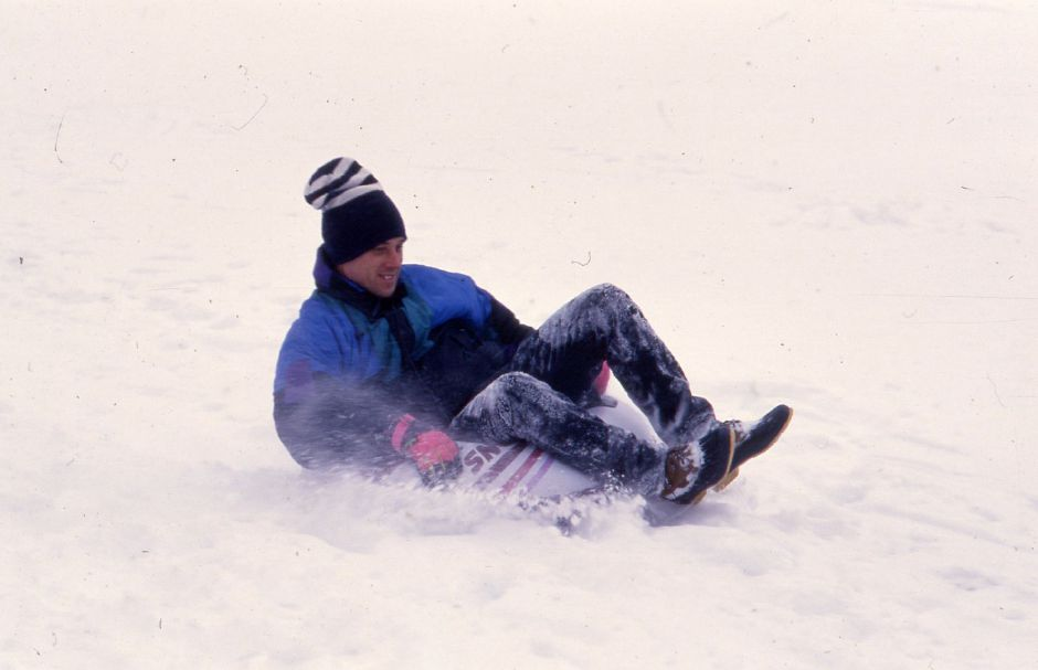 RJ file photo - Andrew Hayward of Meriden speeds down the slope on some fresh snow at Hunter Golf Club Jan. 3, 1994.