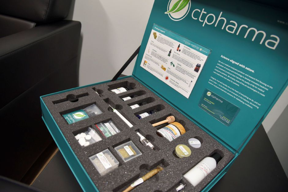 A CTpharma display shows some of the medical marijuana options available to patients, at Willow Brook Wellness Center in Meriden on June 13, 2019. CTpharma is one of four producers in Connecticut which Willow Brook buys from. | Bailey Wright, Record-Journal