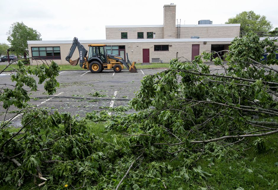 Fallen trees and downed wires at Cook Hill Elementary School in Wallingford, Thursday, May 17, 2018. Dave Zajac, Record-Journal