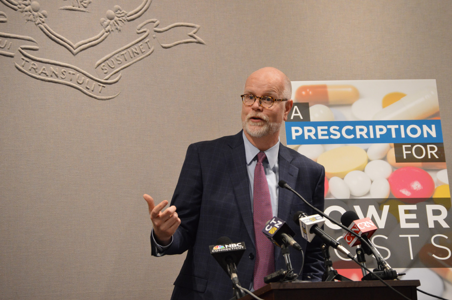 "FILE PHOTO -- Comptroller Kevin Lembo during a press conference Tuesday, Jan. 24, 2017 at the Capitol. He unveiled a package of bills that he said will give the state some recourse against the ""soaring cost pharmaceutical drugs."" 