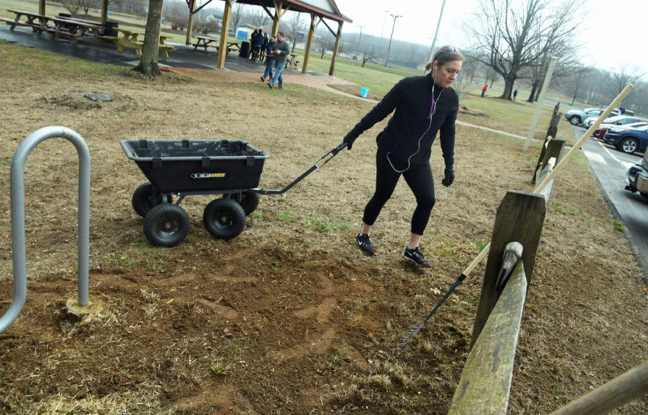 Recreation Committee vice-chair Kelly Munro helps clean up Allyn Brook Park in Durham on Saturday, April 6, 2019. | Bailey Wright, Record-Journal