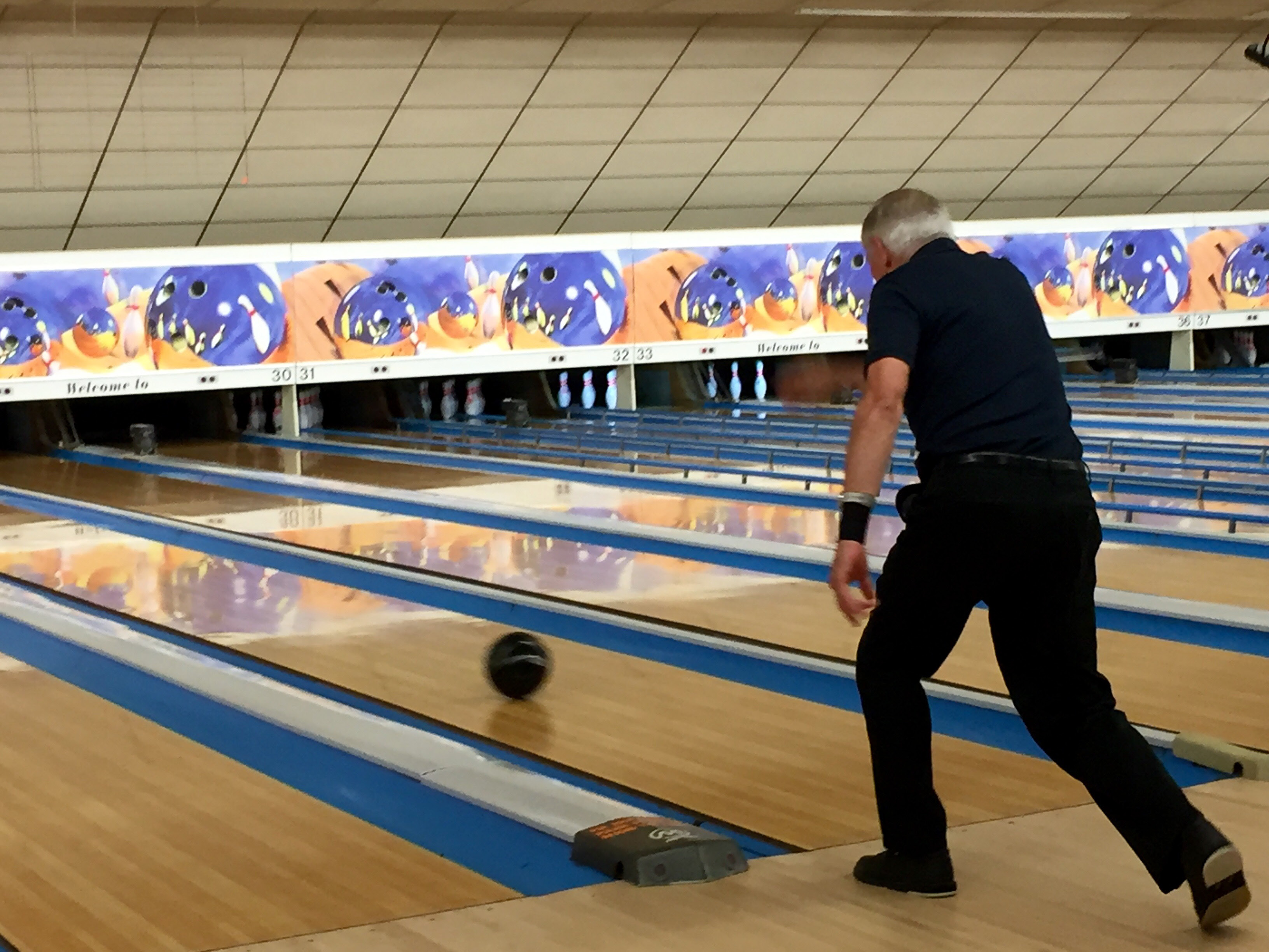 Carter Flatt bowls at the renovated facility, Monday, Aug. 22. | Ashley Kus, The Plainville Citizen