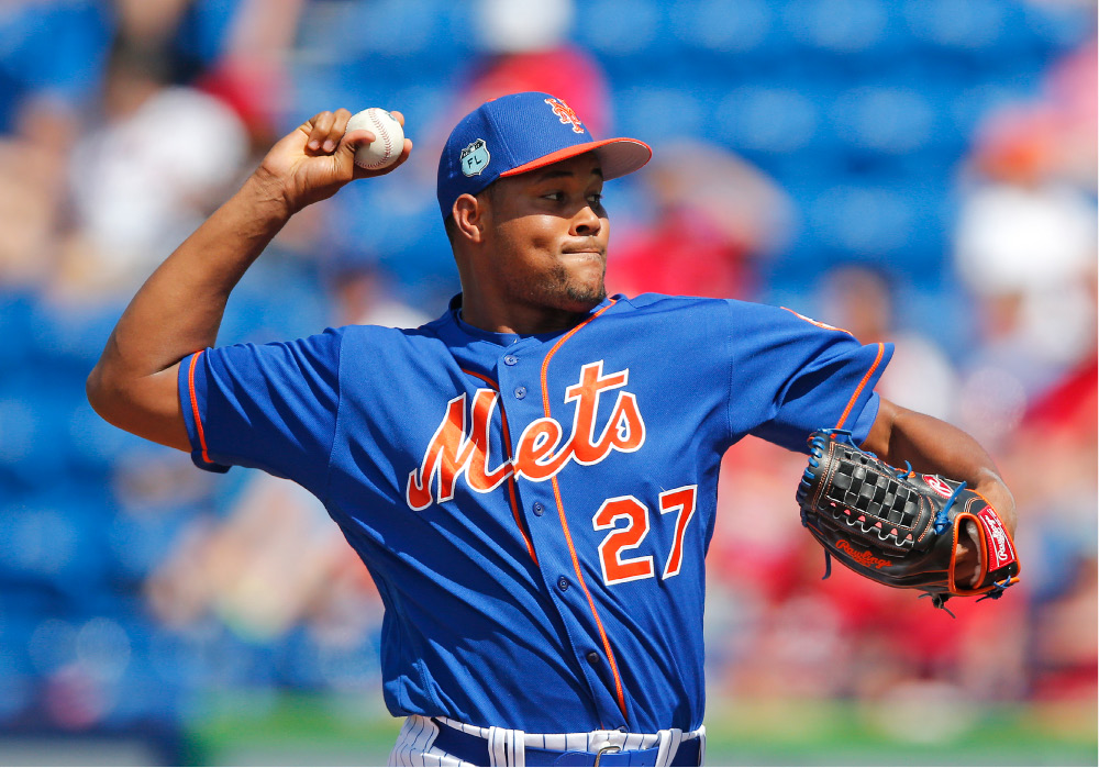 New York Mets relief pitcher Jeurys Familia (27) works against the St. Louis Cardinals in the eighth inning of a spring training baseball game Tuesday, March 28, 2017, in Port St. Lucie, Fla. The game ended in a 3-3 tie. (AP Photo/John Bazemore)
