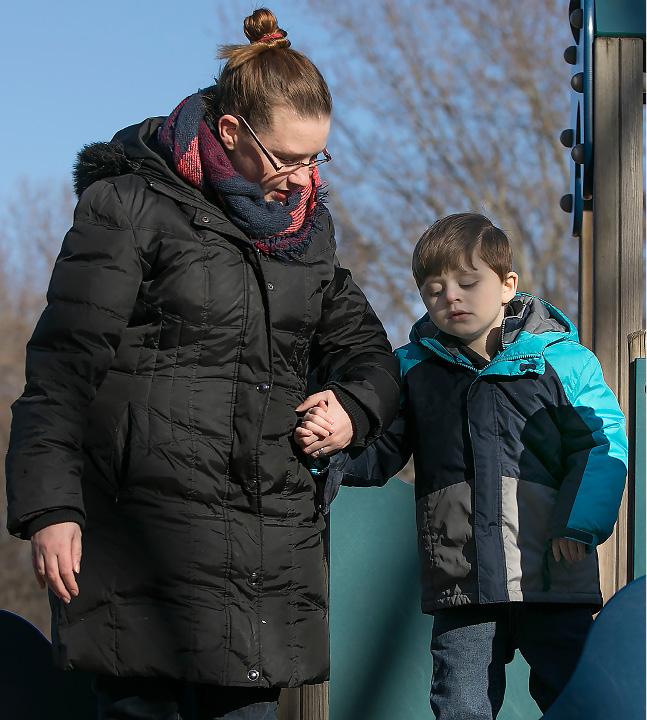 Jennifer Reilly and son Collin, 7, at Doolittle Park in Wallingford, Thursday, March 23, 2017. | Dave Zajac, Record-Journal