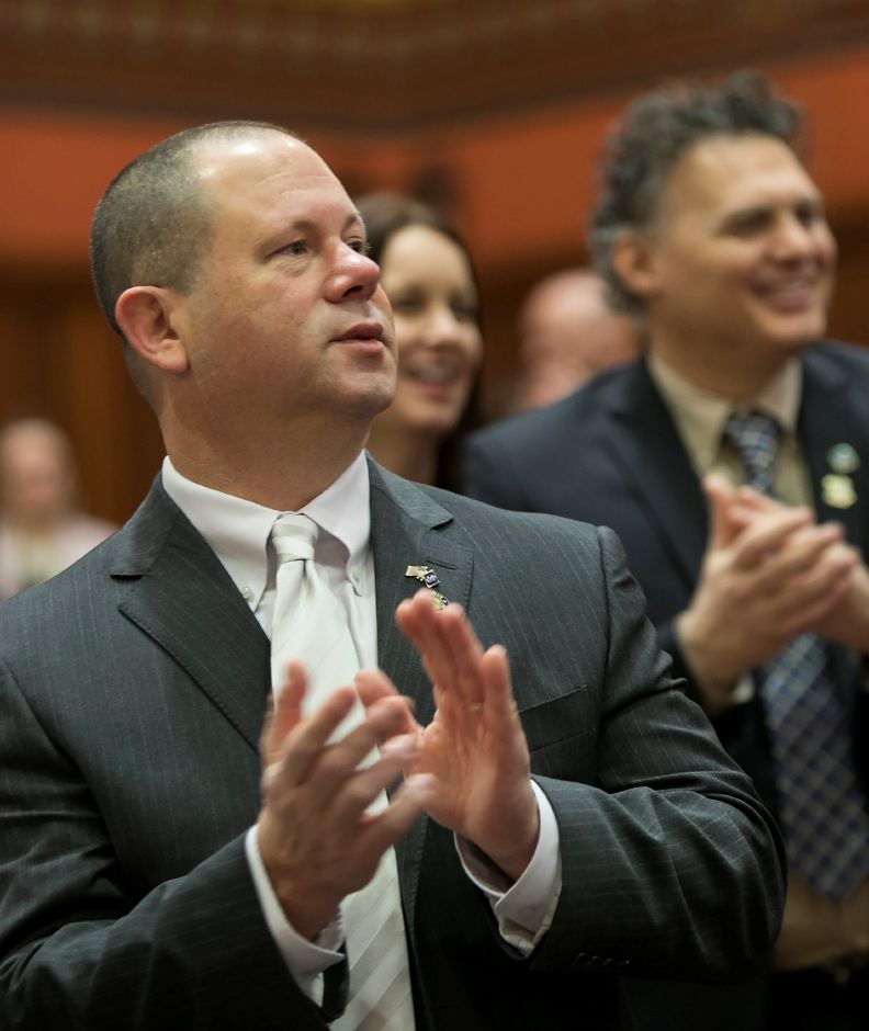 Rep. Craig Fishbein, R-Wallingford, applauds during opening day of the 2018 legislative session in Hartford, Wednesday, Feb. 7, 2018. Dave Zajac, Record-Journal