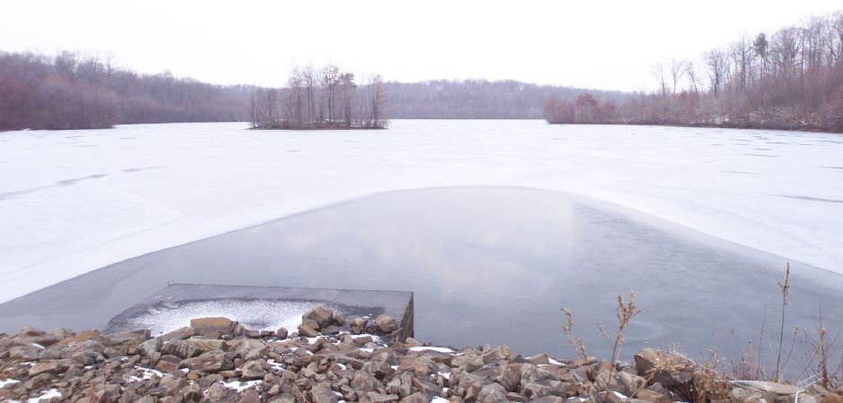 A semi-frozen Broad Brook Reservoir in Cheshire Wed., Jan. 9. The reservoir provides water to Meriden.