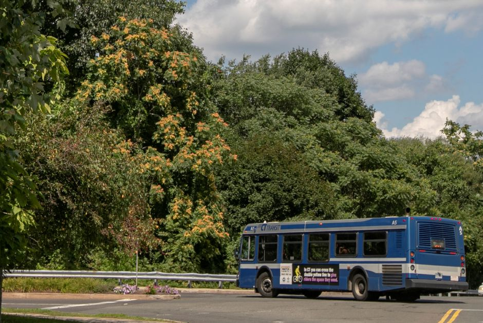 A CTtransit 501 bus to New Britain exits the Westfield Meriden shopping mall in Meriden, Thursday, August 9, 2018. Dave Zajac, Record-Journal