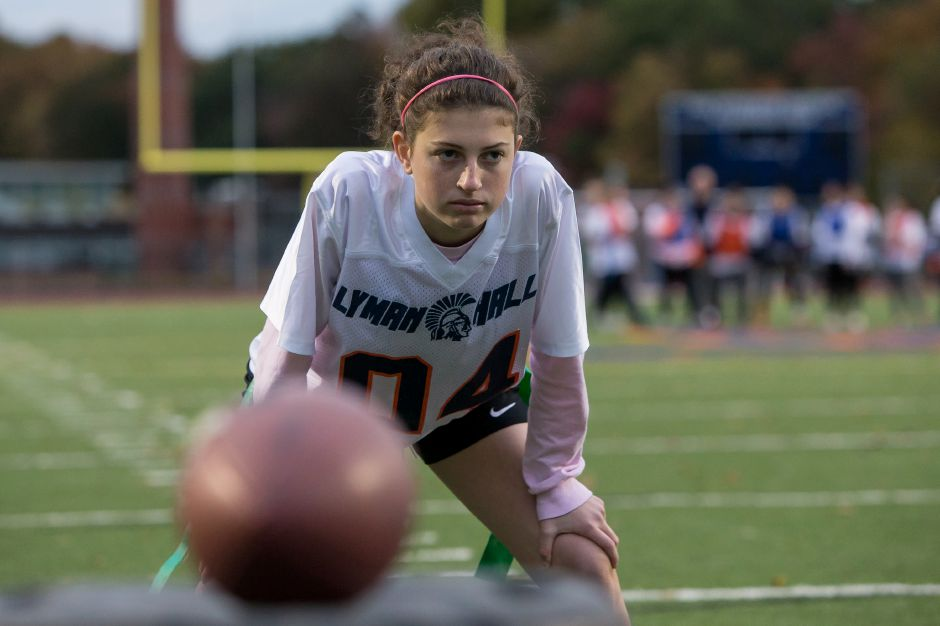 Sunday during Powder Puff practice at Lyman Hall High School in  Wallingford October 28, 2018 | Justin Weekes / Special to the Record-Journal