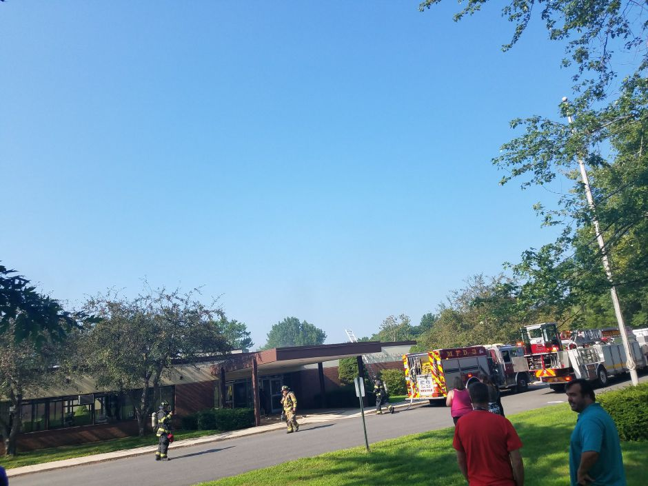 Firefighters have responded to a fire at Thomas Hooker Elementary School. | Lauren Sellew, Record-Journal