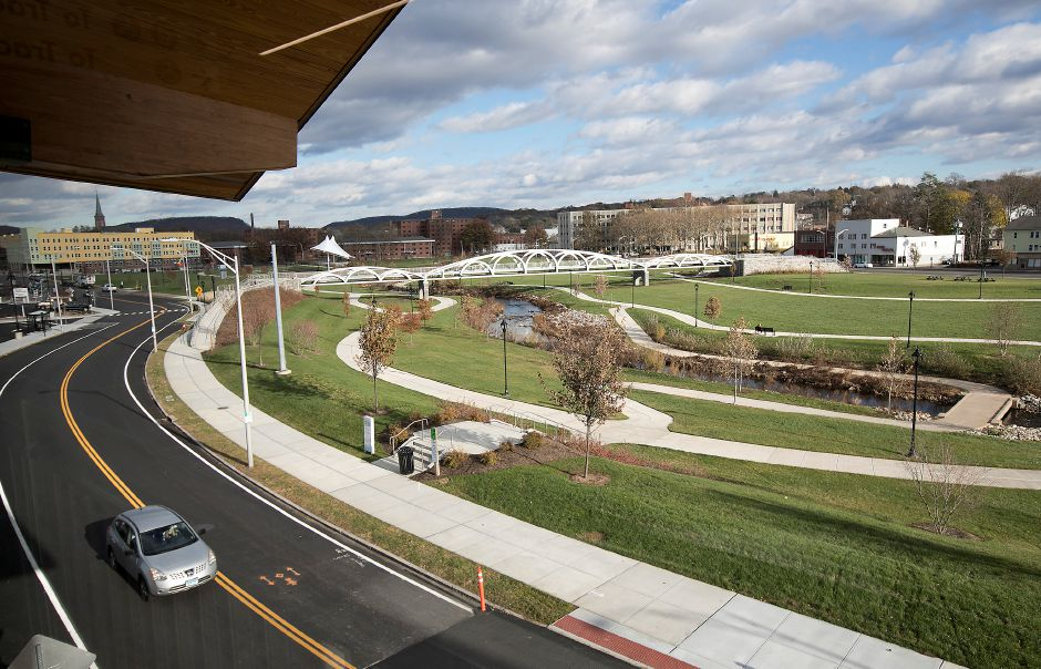 View of the Meriden Green from the new Meriden train station, Monday, Nov. 20, 2017. The station opened Friday. | Dave Zajac, Record-Journal