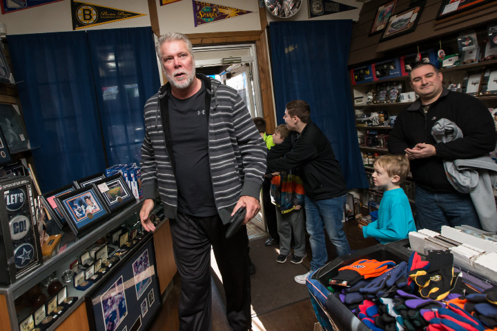 Pro wrestler Kevin Nash makes his way into M & J Video Game and First Base Collectables for an autograph session for fans Saturday in Wallingford Jan. 30, 2016 | Justin Weekes / For the Record-Journal