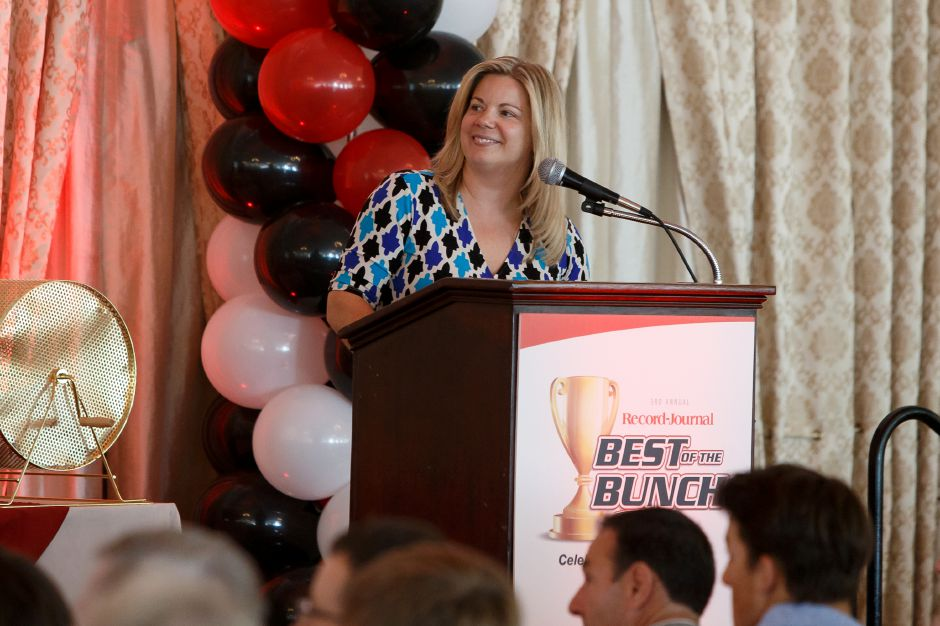 Record-Journal Executive Vice President Liz White speaks to the crowd Sunday during the third annual Record-Journal Best of the Bunch Brunch at the Aqua Turf Club in Plantsville.