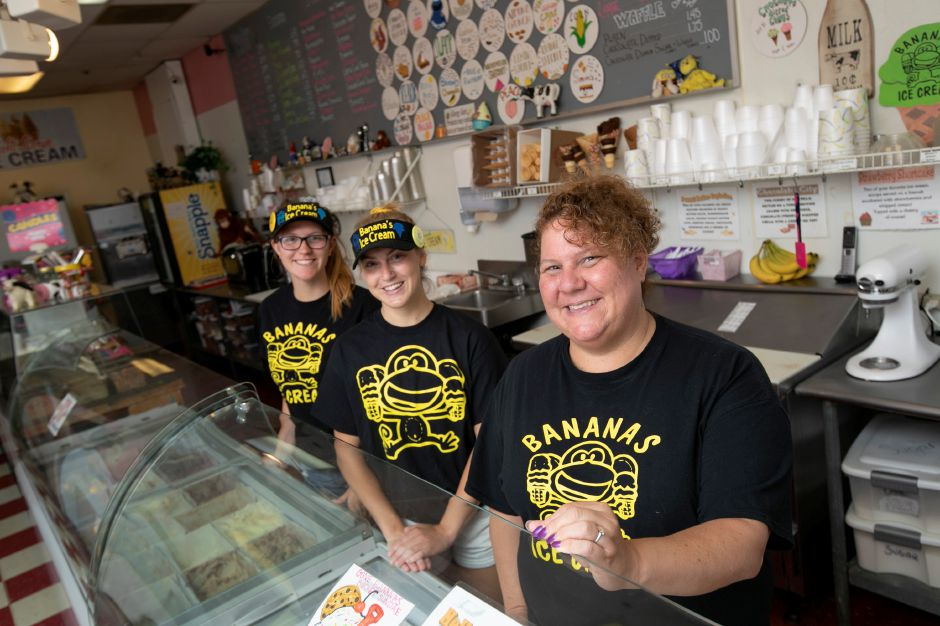 Right to left, Michelle Caramanello, operations manager, and managers McKenzie Herget and Marissa Klimovich at Banana's Ice Cream.