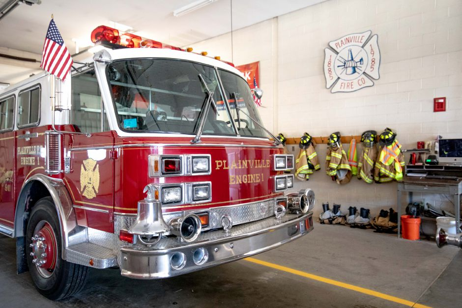 Plainville Fire Engine 1 sits inside the department