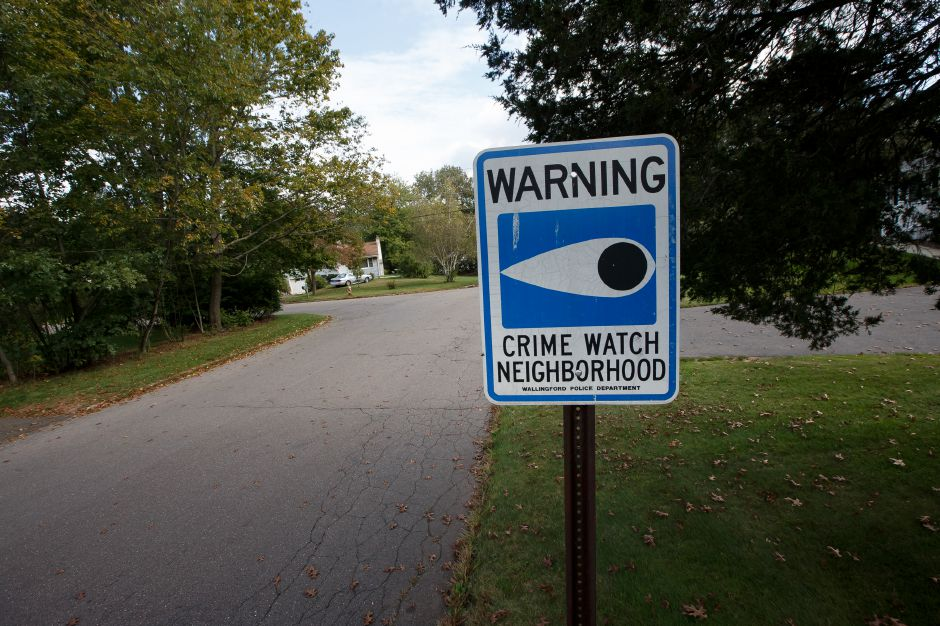 A Neighborhood Watch sign is posted at the start of Highland Drive Wednesday in Wallingford October 10, 2018 | Justin Weekes / Special to the Record-Journal