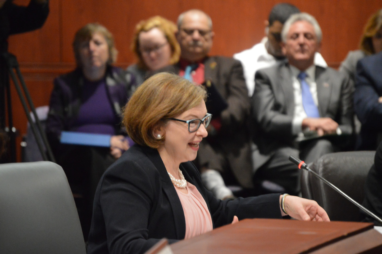State Education Commissioner Diana R. Wentzell urged lawmakers Wednesday, March 1, 2017, not to relax restrictions for how much municipalities can cut school budgets due to enrollment drops. | Mike Savino, Record-Journal