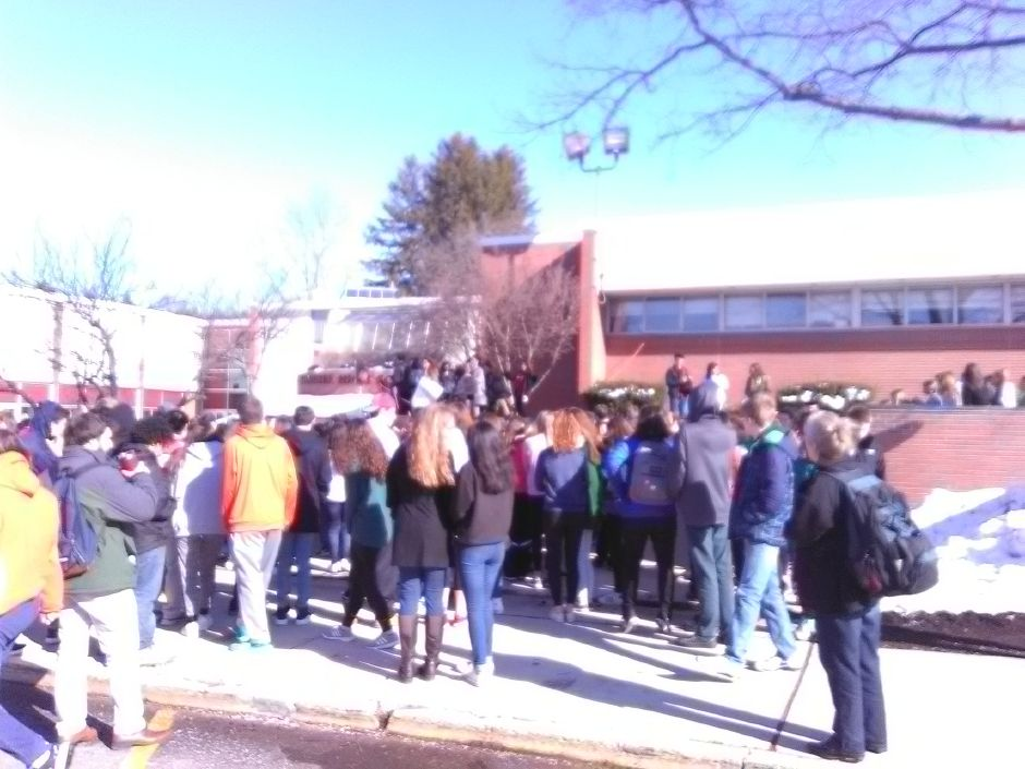 The walkout at Cheshire High School on March 14.