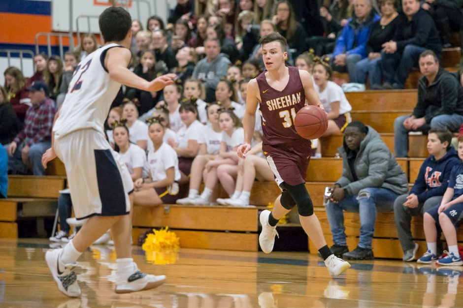 Garrett Molampy scored a team-high 18 points for Sheehan in Thursday's 70-64 setback at West Haven on Thursday night. | Justin Weekes / Special to the Record-Journal