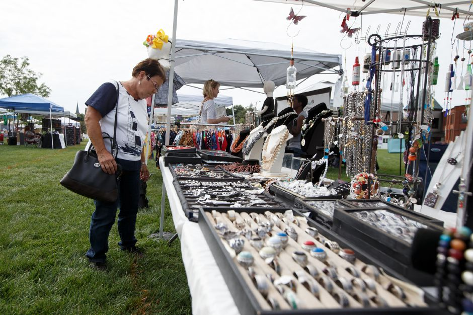 Linda DeMerchant of Meriden shops Belle Cosa store Saturday during a pop up market on the Meriden Green in Meriden September 1, 2018 | Justin Weekes / Special to the Record-Journal