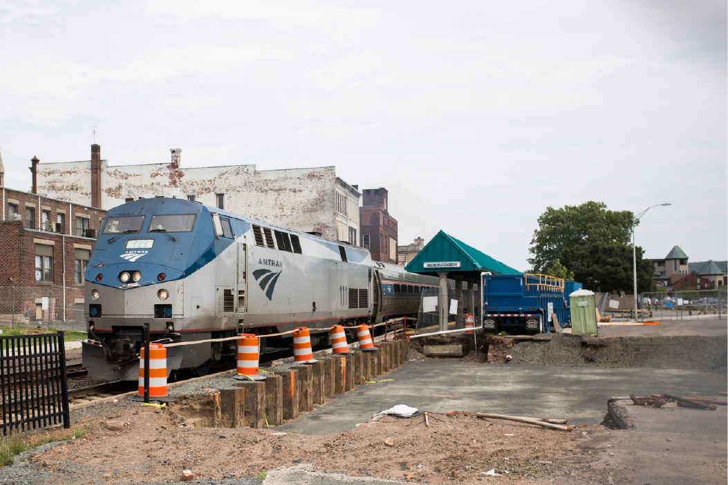 An Amtrak train pulls out of the Meriden station on June 18, 2015. The area around the station is undergoing upgrades to make way for a new station to coincide with the high-speed rail project. | File photo / Record-Journal