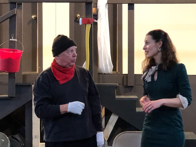 Actors Allan Church and Nicole Zolad during a rehearsal in Wallingford, Thurs., Dec. 4, 2018. Photo Courtesy of Mary Ellen Eckels, Record-Journal