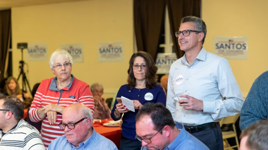 Republican fifth congressional district candidate Manny Santos at his election night headquarters at the Meriden VFW on Nov. 6, 2018. | Devin Leith-Yessian/Record-Journal