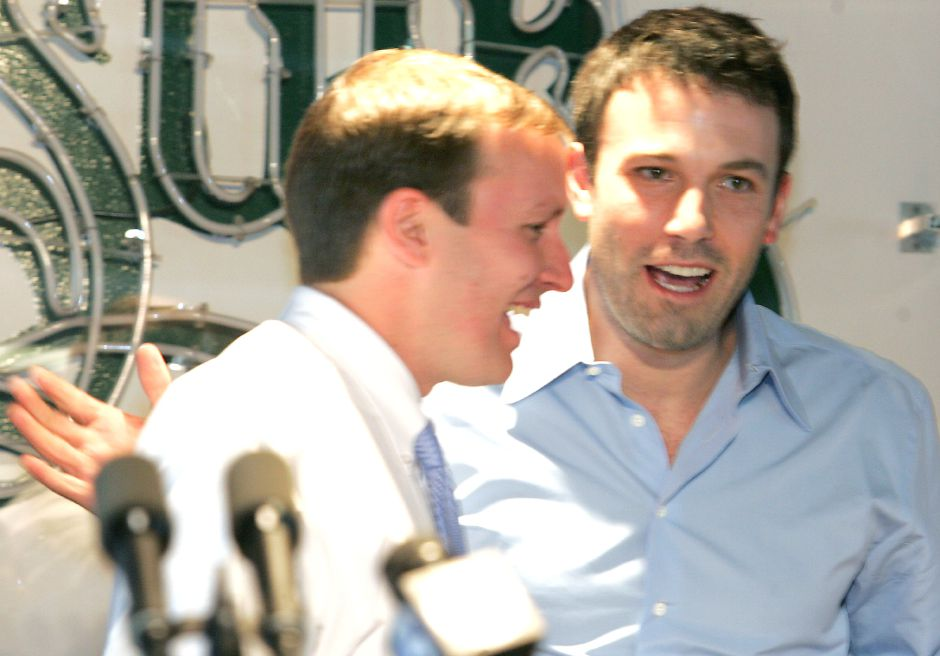 Film actor Ben Affeck, right, is making an appearance with candidate Chris Murphy, left, to rally support for the democrat at Central Connecticut State University in New Britain Friday afternoon November 3, 2006. Chris Angileri/Record-Journal.