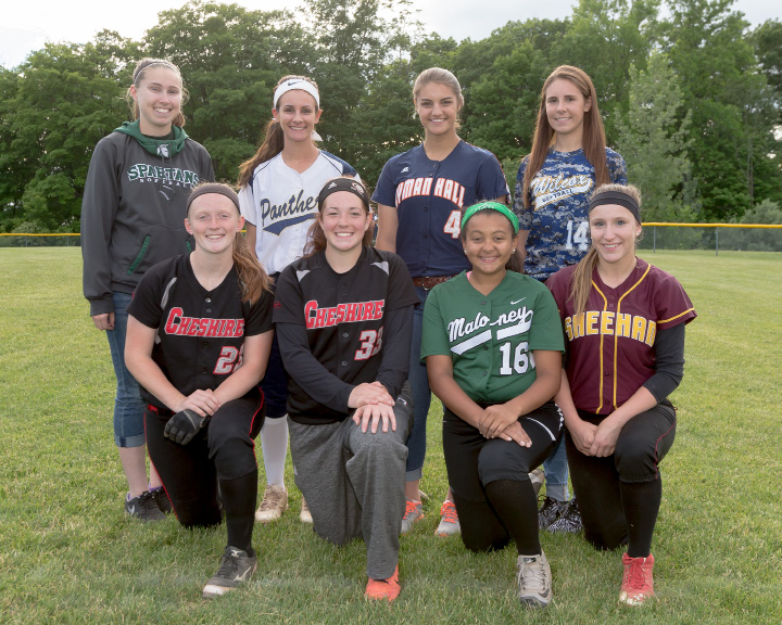 The All Record Journal softball team. Front row, from left: Cheshire's Megan Hodgdon and Abby Abramson, Maloney's Paige Mickens-Uliase and Sheehan's Hunter Selvaggi. Back row, from left: Maloney's Regan Maloney, Platt's Ashley Gallo, Lyman Hall's Sam Carbone and Wilcox Tech's Renee Sousa. | Justin Weekes, Special to the Record-Journal