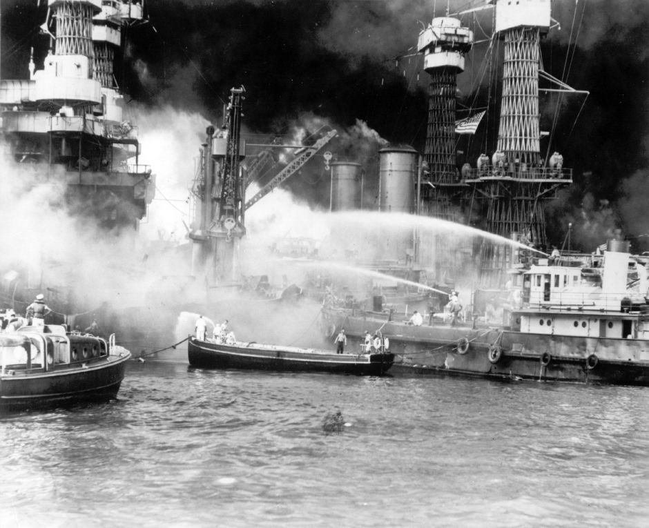 The battleship USS West Virginia is seen afire after the Japanese surprise attack on Pearl Harbor, Hawaii, on December 7, 1941. (AP Photo)