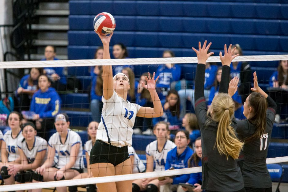 Southington's Brooke Cooney collected 13 kills and four aces in Thursday's 3-0 sweep of South Windsor in the second round of the Class LL state tournament. | Justin Weekes / Special to the Record-Journal