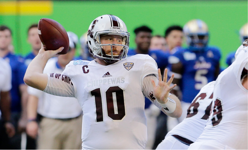 Central Michigan quarterback Cooper Rush prepares to pass against Tulsa in the first half of the Miami Beach Bowl NCAA college football game, Monday, Dec. 19, 2016, in Miami. (AP Photo/Alan Diaz)