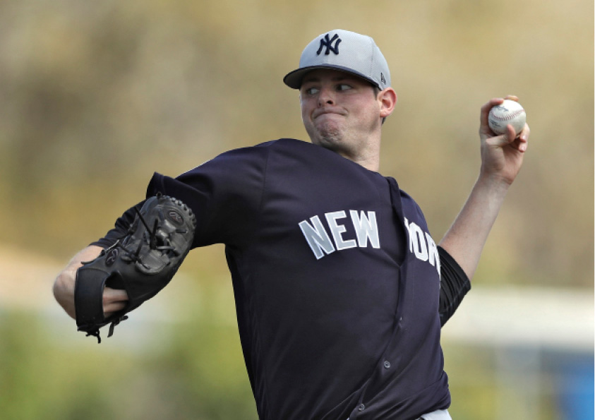 New York Yankees starting pitcher Jordan Montgomery delivers to the Toronto Blue Jays during the third inning of a spring training baseball game Wednesday, March 29, 2017, in Dunedin, Fla. (AP Photo/Chris O