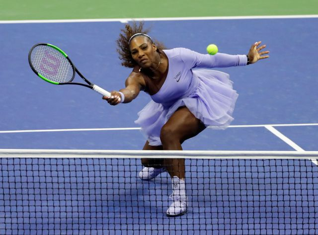 Serena Williams returns a shot to Anastasija Sevastova, of Latvia, during the semifinals of the U.S. Open tennis tournament, Thursday, Sept. 6, 2018, in New York. (AP Photo/Frank Franklin II)