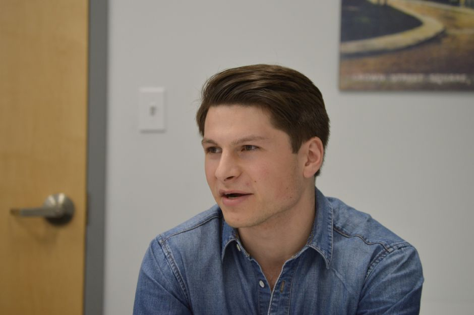 Alex Tiktinksy, who recently moved to Meriden and is considering a run for the 13th Senate District, during a March visit to the Record-Journal