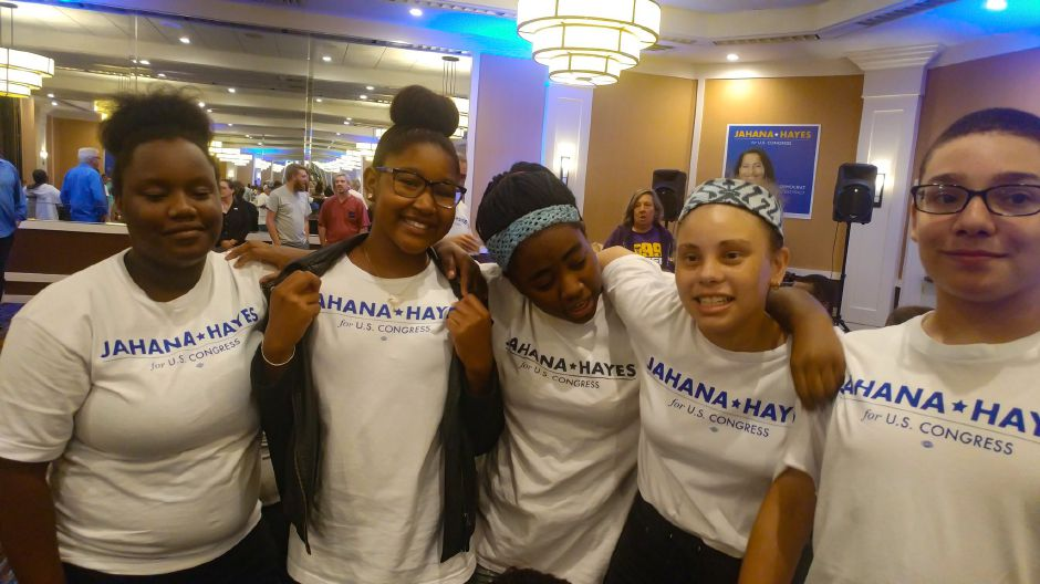 Supporters of Jahana Hayes wait for results to come in Tuesday night Aug. 14, 2018. | Mary Ellen Godin, Record-Journal