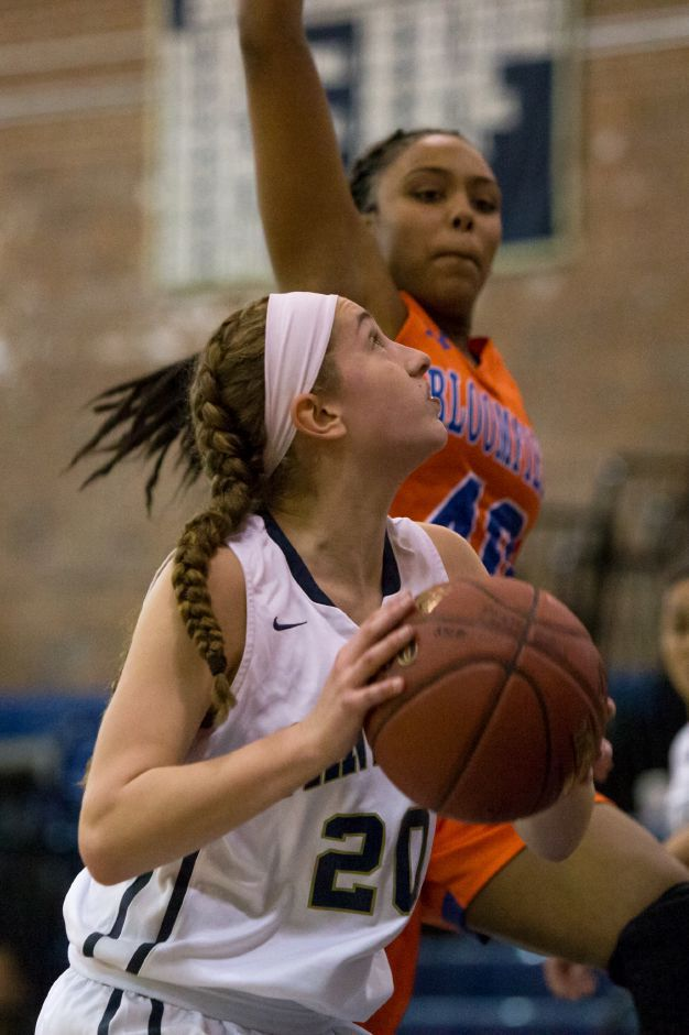 Julia Misner scored eight of her 10 points in the fourth quarter Saturday to help the Platt girls basketball team defeat Bristol Eastern 52-51 in Meriden. | Justin Weekes / Special to the Record-Journal