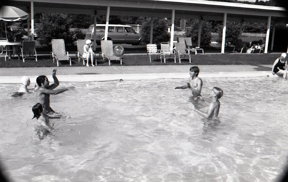 People play in the water during the Meriden-Wallingford Hospital Candy Striper Splash Party, August 1975.