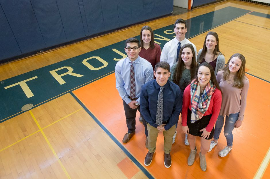 These are Lyman Hall's Record-Journal Scholar-Athletes for the 2018 fall season. In front are Tyler Stowik and Kailey Lipka. In the second row, left to right, are Furkan Parcal, Kristina Driscoll and Hailey Bruneau. In the back, from left, are Carly Jacobs, Luke Horobin and Meredith DeNegris.