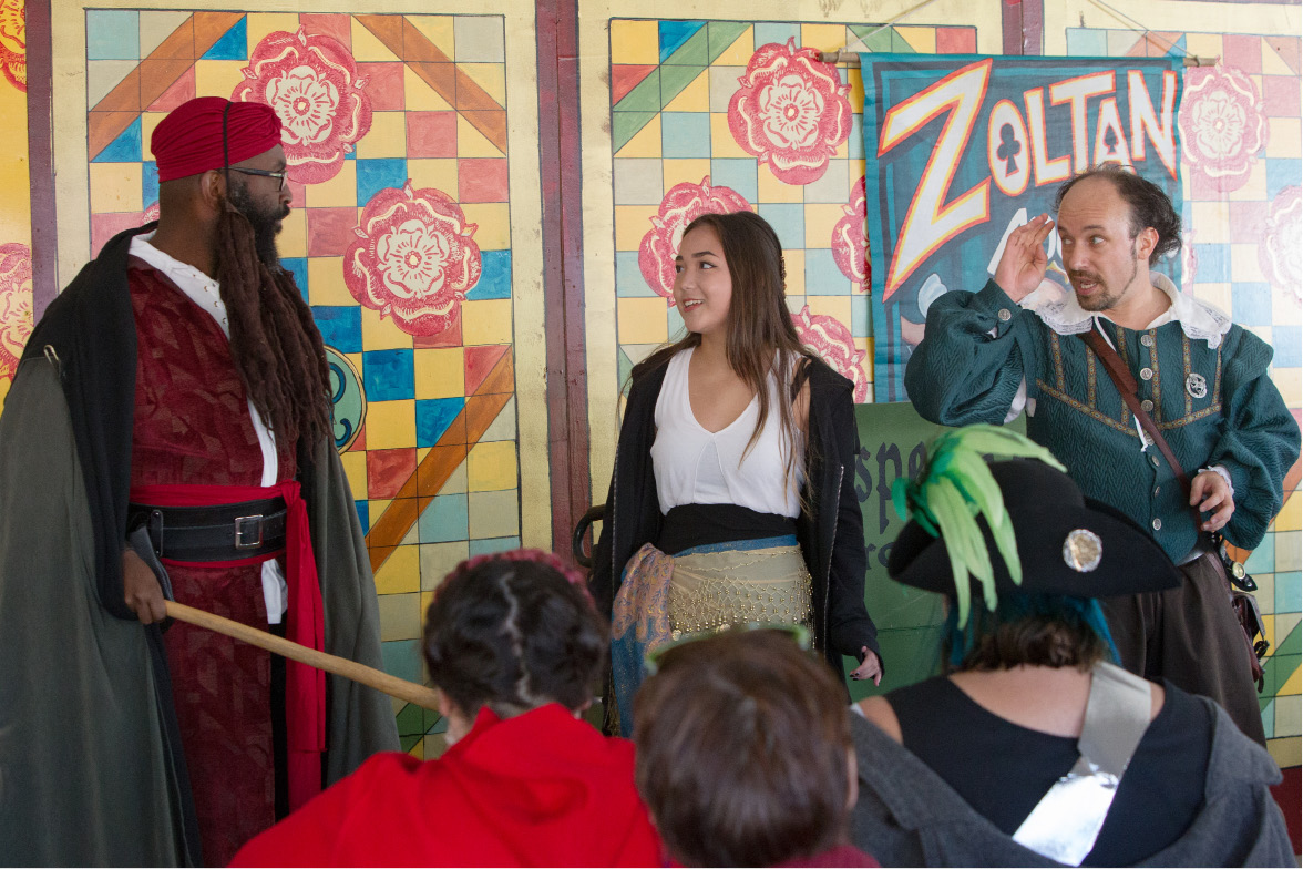 Jaelynn Cafourek, 13, of Cheshire, is called up to help with a performance of Shakespeare Approves during the Connecticut Renaissance Faire at the North Haven Fair Grounds in 2016. This year's festival is moving to Lebanon.| File photo, Record-Journal