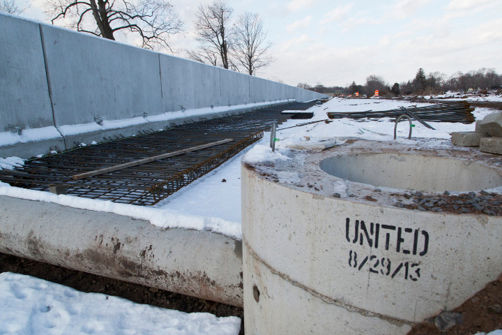 The the concrete walls, barriers, and drainage fixtures on this section of the Fastrack bus way project in New Britain on Dec. 13, 2013 where made at the United Concrete Plant in Wallingoford. | Christopher Zajac / Record-Journal