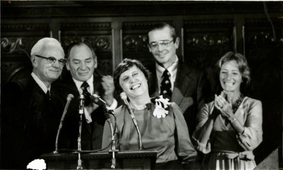 Governor Ella T. Grasso at her inauguration. She is surrounded by State Supreme Court Chief Justice Charles S. House, Lt. Governor Robert K. Killian, Speaker of the House James J. Kennelly, and Secretary of the State Gloria Schaffer.|Courtesy Hartford Public Library