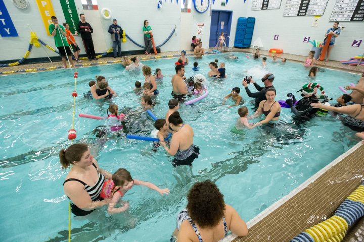 FILE PHOTO: Kids and parents fill the shallow end of the pool Sunday during Scuba with Santa at the Wallingford YMCA in Wallingford Dec. 13, 2015 | Justin Weekes / For the Record-Journal